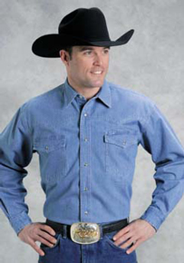 Roper Denim Western Shirt - Blue - Tall - Men's Western Shirts | Spur Western Wear