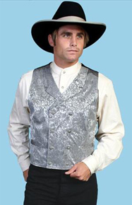 Wah Maker Silk Double Breasted Vest - Grey - Men's Old West Vests And Jackets | Spur Western Wear