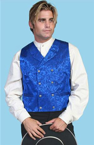 Wah Maker Silk Double Breasted Vest - Royal - Men's Old West Vests And Jackets | Spur Western Wear