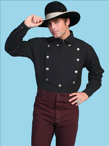 Scully Bib Front Shirt - Black - Men's Old West Shirts | Spur Western Wear