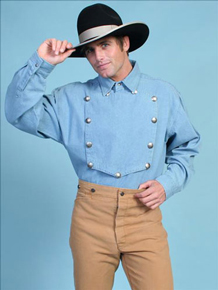 Scully Bib Front Shirt - Light Blue - Men's Old West Shirts | Spur Western Wear
