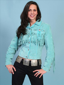 Scully Bead & Fringe Leather Western Jacket - Turquoise - Ladies Leather Jackets | Spur Western Wear