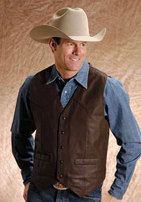 Roper Goat Leather Western Vest - Brown - Tall Sizes - Men's Leather Western Vests and Jackets | Spur Western Wear