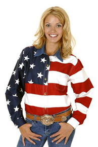 Roper American Flag Long Sleeve Button Front Western Shirt - Ladies' Western Shirts | Spur Western Wear