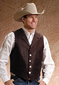 Roper Notch Collar Leather Western Vest - Dark Brown - Men's Leather Western Vests and Jackets | Spur Western Wear