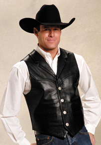 Roper Notch Collar Leather Western Vest - Black - Men's Leather Western Vests and Jackets | Spur Western Wear