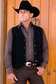 Cripple Creek Cow Suede Western Vest - Black - Men's Leather Western Vests and Jackets | Spur Western Wear