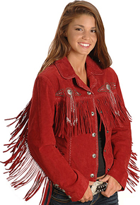 Scully Bead & Fringe Leather Western Jacket - Red - Ladies Leather Jackets | Spur Western Wear