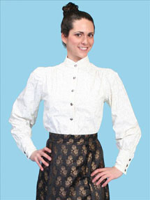 Wah Maker Jennie Victorian Blouse - Ivory - Ladies' Old West Blouses | Spur Western Wear