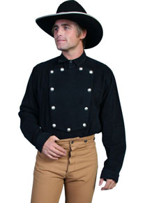 Wah Maker Bib Front Shirt – Silver Tone Button – Black - Men's Old West Shirts | Spur Western Wear