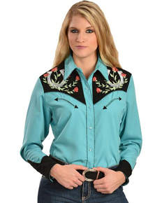 Scully Floral Justice Long Sleeve Snap Front Western Shirt - Turquoise - Ladies' Retro Western Shirts | Spur Western Wear