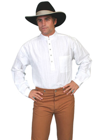 Scully Banded Collar Shirt - White - Men's Old West Shirts | Spur Western Wear