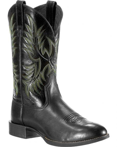 Ariat® Heritage Stockman Western Boot - Black Deertan/Shiny Black