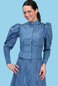 Wah Maker Moire Princess Tie Back Blouse - Blue - Ladies' Old West Blouses | Spur Western Wear