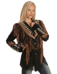 Liberty Leather Ladies Black with Rust Suede Fringe Leather Jacket