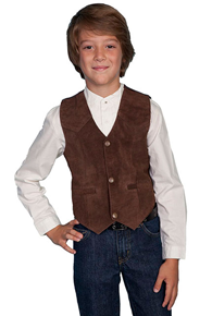 Scully Boar Suede Western Vest - Expresso - Boys' Old West Vests And Jackets | Spur Western Wear