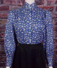 Frontier Classics Prairie Blouse - Blue Print - Ladies' Old West Clothing | Spur Western Wear