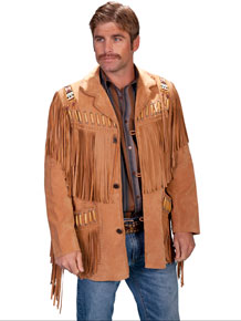 Scully Bone Bead Trim Fringe Leather Coat - Bourbon - Men's Leather Western Vests and Jackets | Spur Western Wear