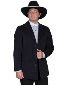 "Wah Maker Brushed Cotton"" Law Dawg"" Town Coat - Black - Style# 11-524009-BLK, Men's Old West Vests And Jackets 