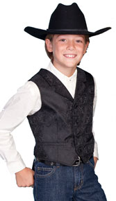 Scully Notched Lapel Paisley Vest - Black - Boys' Old West Vests and Jackets | Spur Western Wear