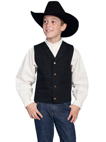 Scully Notched Lapel Canvas Vest - Black - Boys' Old West Vests and Jackets | Spur Western Wear