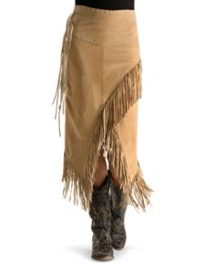 Scully Boar Suede Leather Fringe Skirt - Old Rust - Ladies Skirts and Petticoats | Spur Western Wear