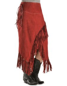 Scully Red Leather Fringe Skirt