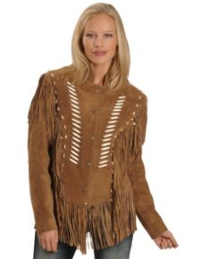 Liberty Leather Ladies Rust Suede Fringe Leather Jacket