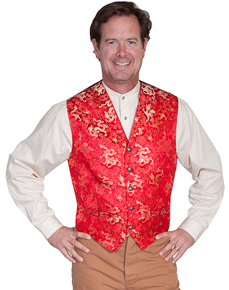 Wah Maker Dragon Vest - Red with Gold - Men's Old West Vests And Jackets | Spur Western Wear