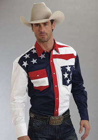 Roper Color Block Flag Long Sleeve Snap Front Western Shirt - Men's Western Shirts | Spur Western Wear