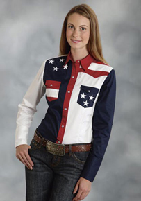 Roper Color Block Flag Long Sleeve Snap Front Western Shirt - Ladies' Western Shirts | Spur Western Wear