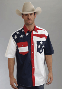 Roper Color Block Flag Short Sleeve Snap Front Western Shirt - Men's Western Shirts | Spur Western Wear