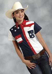 Roper Color Block Flag Short Sleeve Snap Front Western Shirt - Ladies' Western Shirts | Spur Western Wear