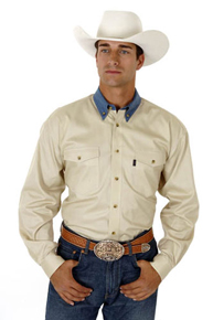 Roper Contrast Collar Long Sleeve Western Shirt - Khaki - Men's Western Shirts | Spur Western Wear