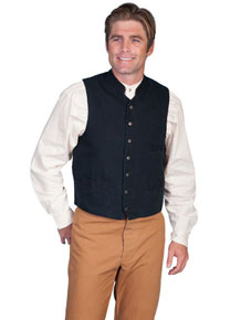 Scully Stand Up Collar Canvas Vest - Black - Men's Old West Vests and Jackets | Spur Western Wear