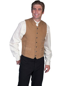 Scully Stand Up Collar Canvas Vest - Brown - Men's Old West Vests and Jackets | Spur Western Wear