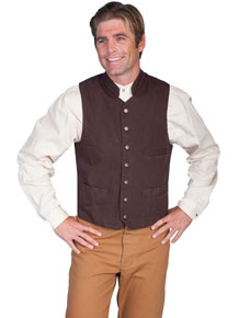 Scully Stand Up Collar Canvas Vest - Walnut - Men's Old West Vests and Jackets | Spur Western Wear