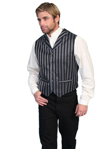 Scully Pinstriped Vest – Black And White - Men's Old West Vests and Jackets | Spur Western Wear