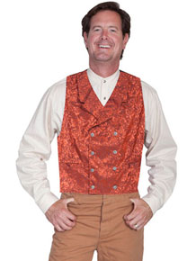 Wah Maker Silk Double Breasted Vest – Rust - Men's Old West Vests And Jackets | Spur Western Wear