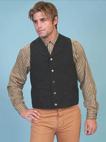 Scully Notched Lapel Canvas Duckins Vest - Black - Men's Old West Vests and Jackets | Spur Western Wear