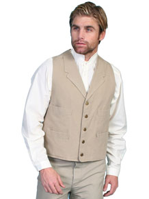 Scully Notched Lapel Canvas Duckins Vest - Sand - Men's Old West Vests and Jackets | Spur Western Wear