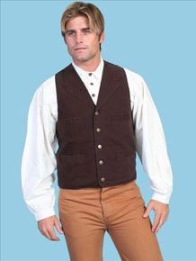Scully Notched Lapel Canvas Duckins Vest - Walnut - Men's Old West Vests and Jackets | Spur Western Wear