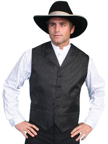 Scully Notched Lapel Paisley Vest - Black - Men's Old West Vests and Jackets | Spur Western Wear
