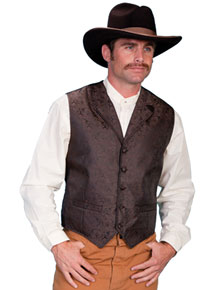 Scully Notched Lapel Paisley Vest - Brown - Men's Old West Vests and Jackets | Spur Western Wear