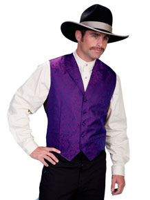 Scully Notched Lapel Paisley Vest - Purple - Men's Old West Vests and Jackets | Spur Western Wear