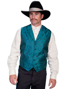 Scully Notched Lapel Paisley Vest -Teal - Men's Old West Vests and Jackets | Spur Western Wear