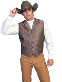 Scully Paisley Vest – Brown - Men's Old West Vests and Jackets | Spur Western Wear