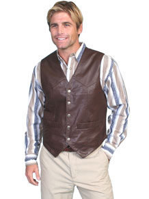 Scully Soft Touch Lambskin Vest – Brown - Men's Leather Western Vests and Jackets | Spur Western Wear
