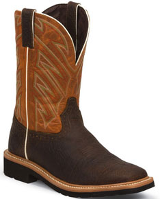 Justin Stampede Electrician Work Boot - Brown - Men's Western Boots | Spur Western Wear