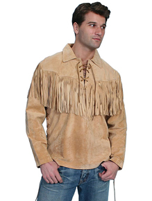 Scully Boar Suede Leather Trapper Shirt - Bourbon - Men's Leather Western Vests and Jackets | Spur Western Wear